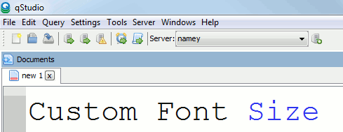 qstudio kdb ide with custom font